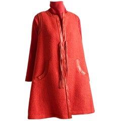 Bonnie Cashin Boucle Wool & Leather Leather Fringe Vest, Dress & Belt Set VTG M