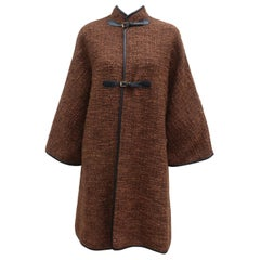 Bonnie Cashin Brown Boucle Coat With Black Leather Trim, 1960's