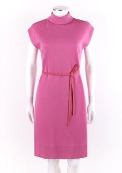BONNIE CASHIN c.1960's Pink Cap Sleeve High Neck Belted Shift Dress