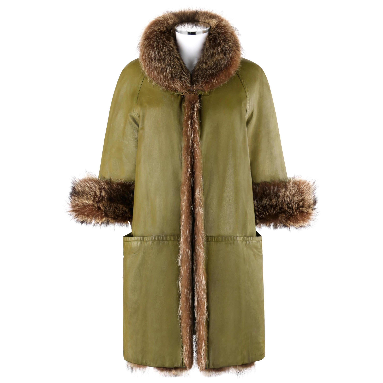 BONNIE CASHIN c.1960's SILLS & Co. Olive Green Raccoon Fur Leather Mod Overcoat