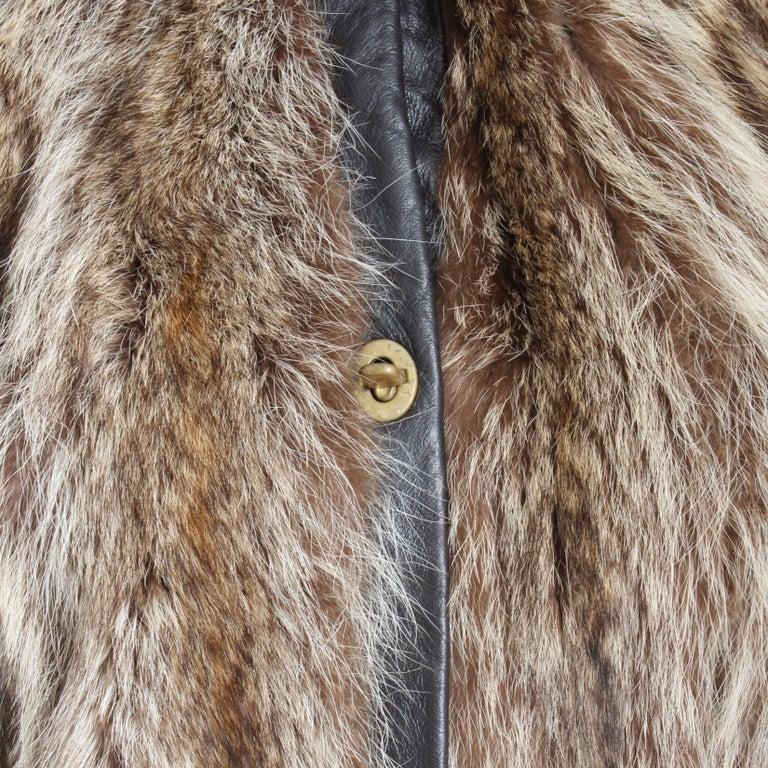 Brown Bonnie Cashin Cape with Hood HBA Furs Raccoon 70s OSFM For Sale