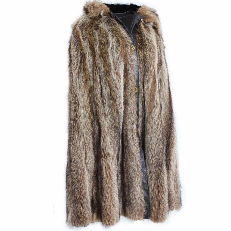 Women's Bonnie Cashin Cape with Hood HBA Furs Raccoon 70s OSFM For Sale