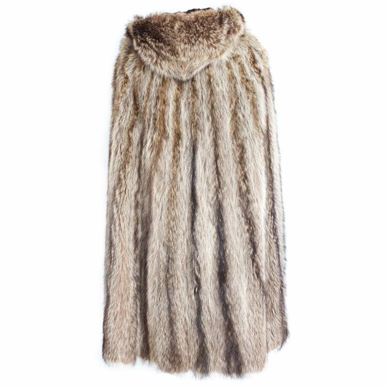 Bonnie Cashin Cape with Hood HBA Furs Raccoon 70s OSFM For Sale 1