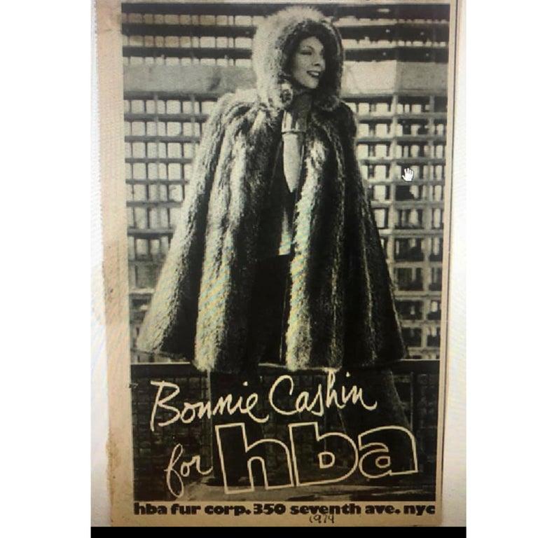 Bonnie Cashin Cape with Hood HBA Furs Raccoon 70s OSFM For Sale 3