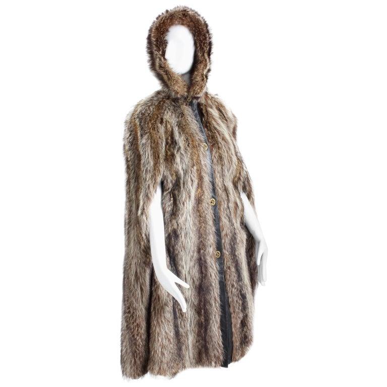 Bonnie Cashin Cape with Hood HBA Furs Raccoon 70s OSFM For Sale