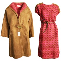Bonnie Cashin Coat & Dress Set 2pc Tan Suede & Cherry Boucle Wool NWT/NOS Sz L