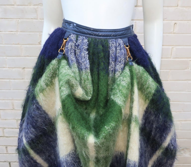 Black Bonnie Cashin Dog Leash Skirt in Blue & Green Plaid Mohair, 1950's For Sale