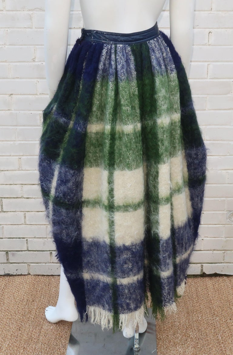Bonnie Cashin Dog Leash Skirt in Blue & Green Plaid Mohair, 1950's For Sale 1