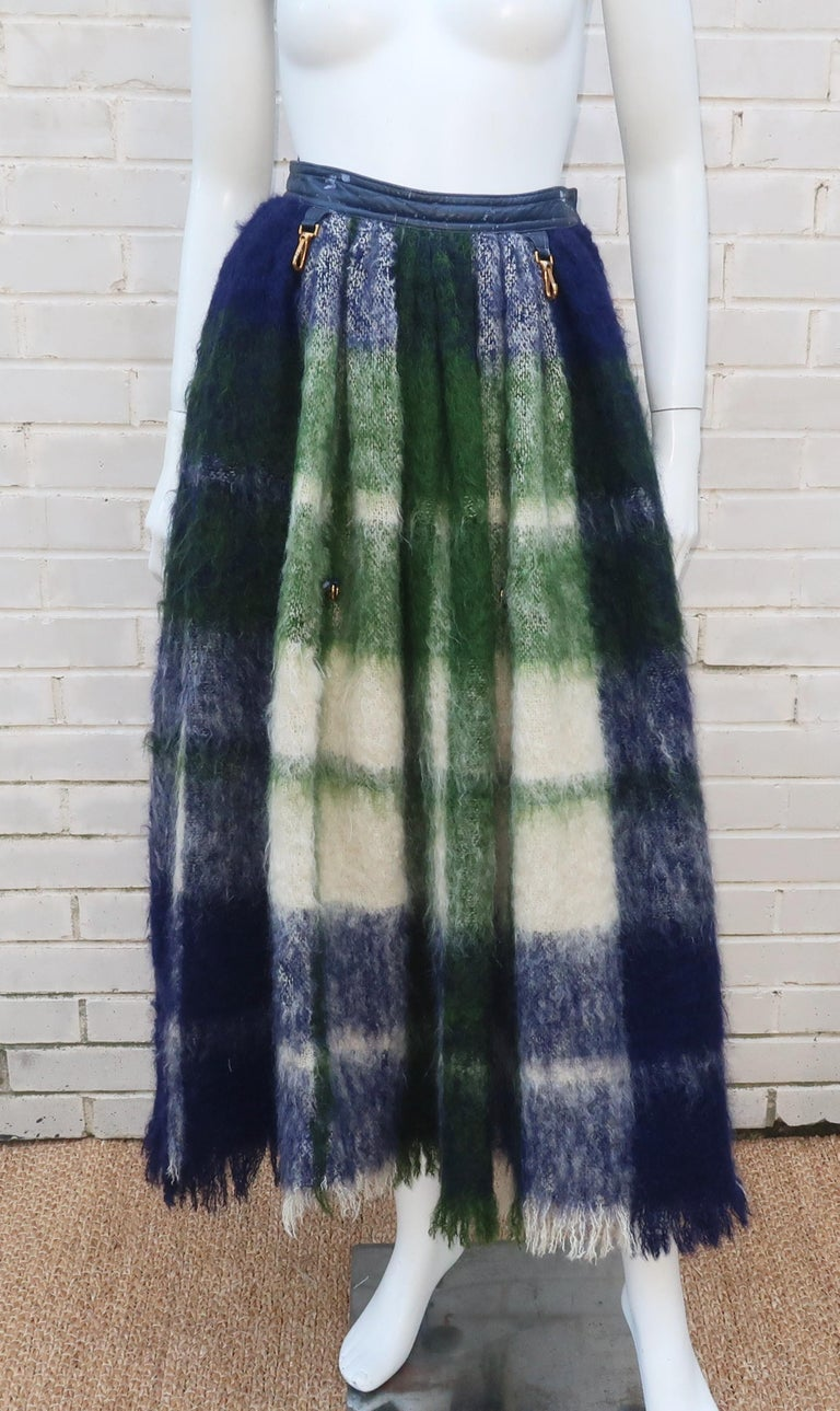 Bonnie Cashin Dog Leash Skirt in Blue & Green Plaid Mohair, 1950's For Sale 2