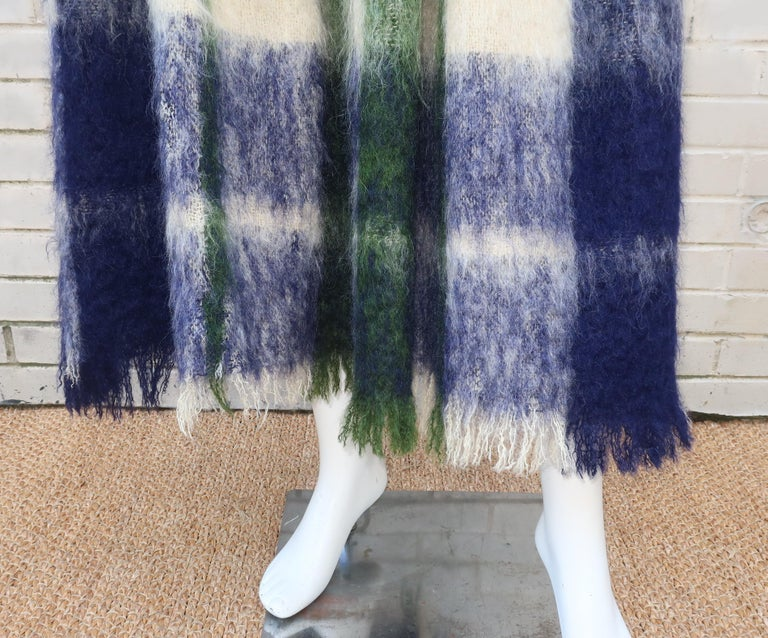 Bonnie Cashin Dog Leash Skirt in Blue & Green Plaid Mohair, 1950's For Sale 4