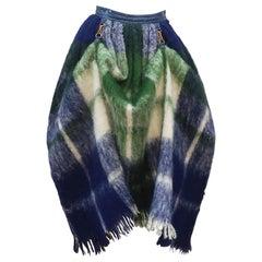 Bonnie Cashin Dog Leash Skirt in Blue & Green Plaid Mohair, 1950's