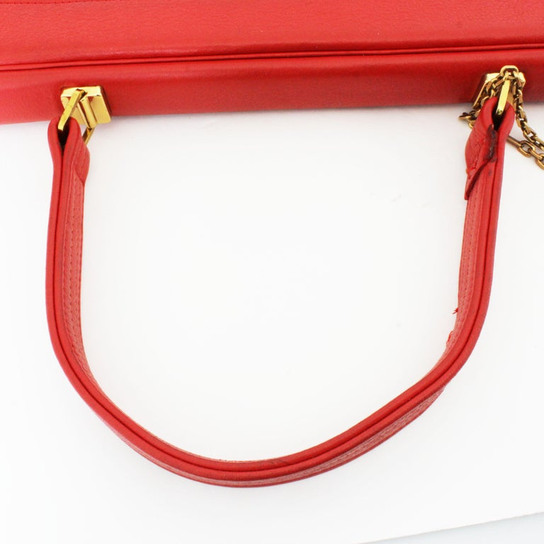 Bonnie Cashin for Coach Attache Bag Red Leather Briefcase Rare Vintage 60s For Sale 7
