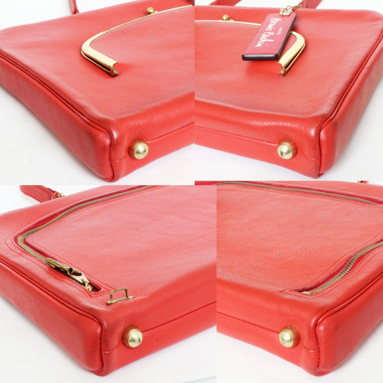 Bonnie Cashin for Coach Attache Bag Red Leather Briefcase Rare Vintage 60s For Sale 8