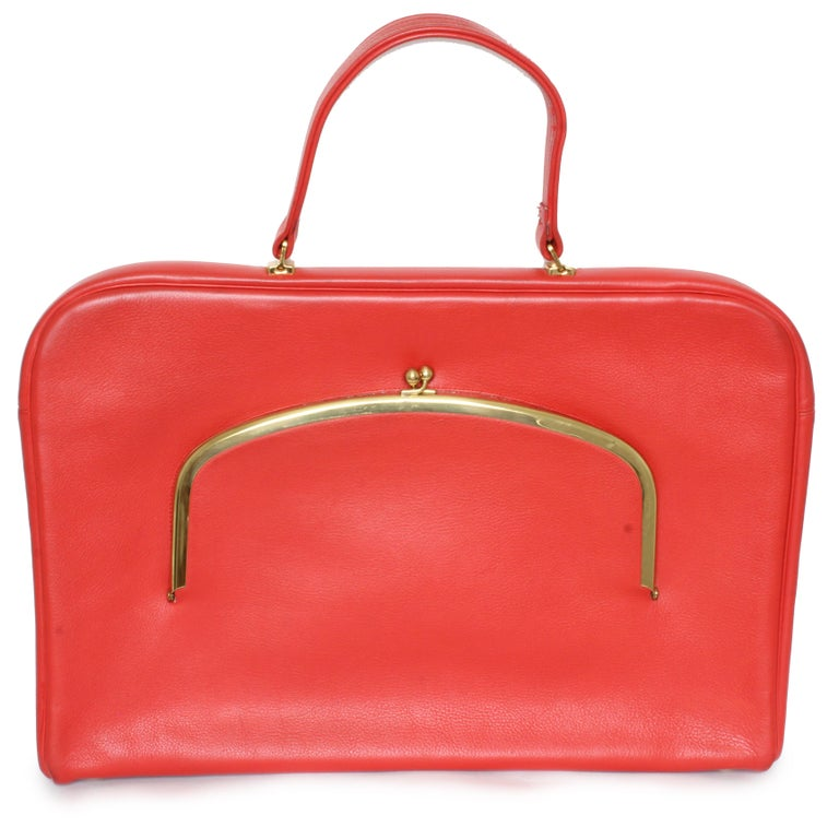 Bonnie Cashin for Coach Attache Bag Red Leather Briefcase Rare Vintage 60s In Good Condition For Sale In Port Saint Lucie, FL