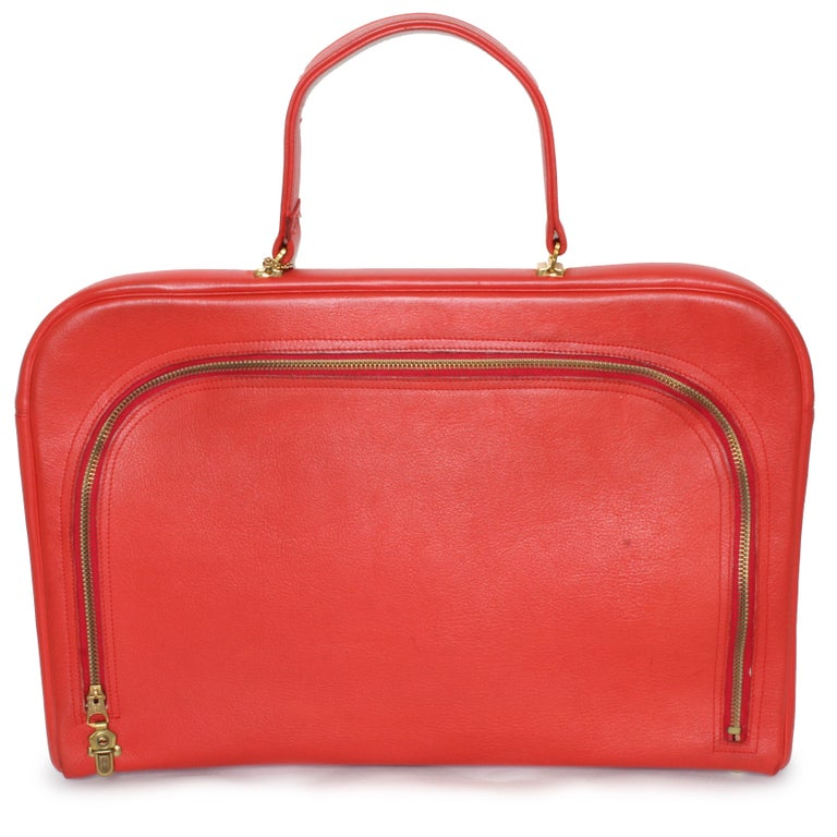 Bonnie Cashin for Coach Attache Bag Red Leather Briefcase Rare Vintage 60s For Sale 3