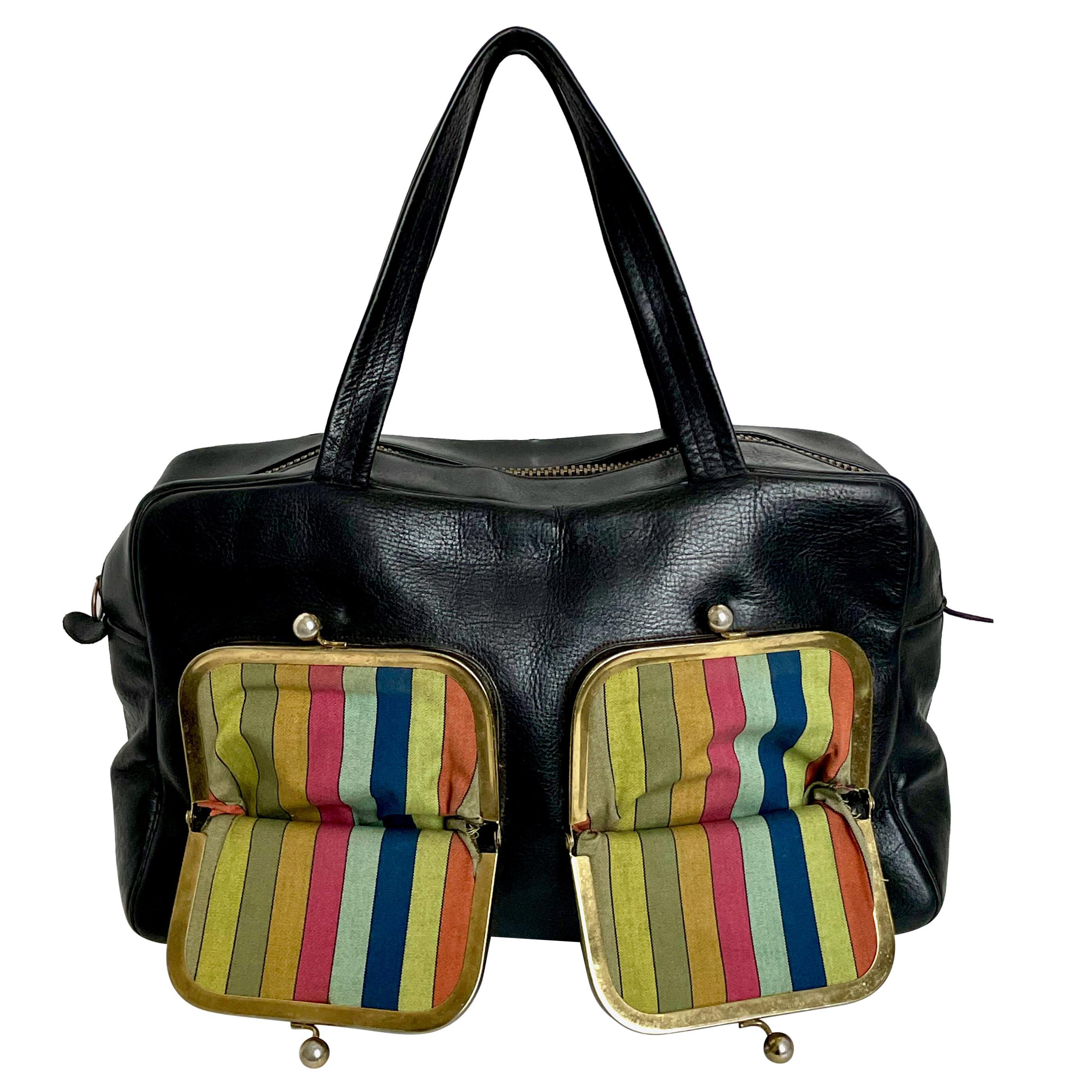 Bonnie Cashin for Coach Bag Double Pocket Duffel Rare Black Leather Vintage 60s