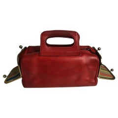 Bonnie Cashin for Coach Double Header Tote Mailbox Bag 60s Red Leather