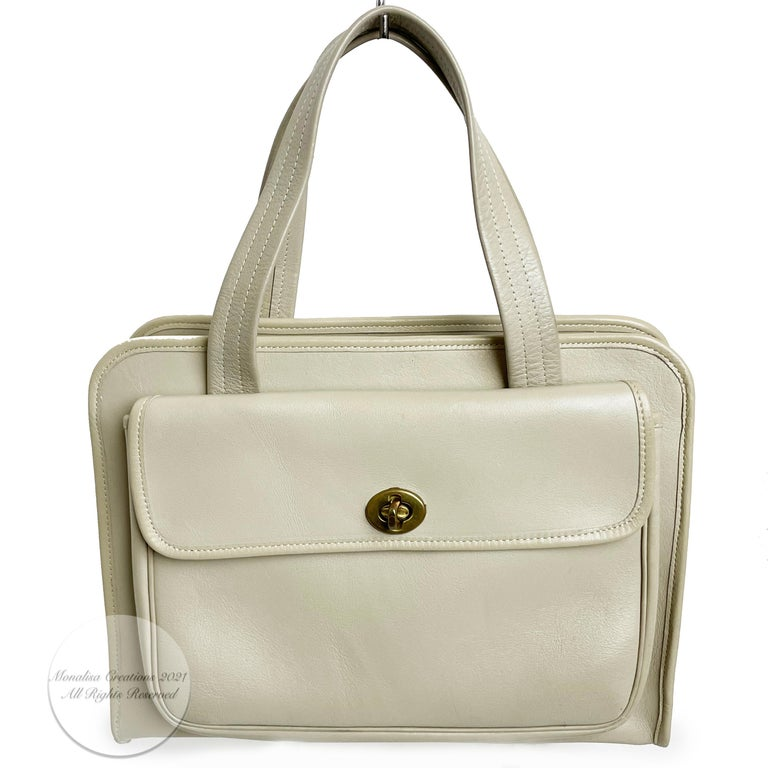 Beige Bonnie Cashin for Coach Double Pocket Safari Bag Tote Vintage 60s Rare For Sale