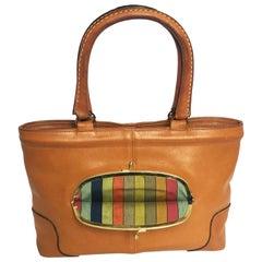 Bonnie Cashin for Coach Leather Tote Bag with Kiss Lock Rare 60s Handbag