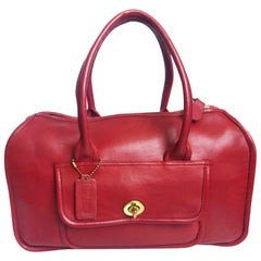 Bonnie Cashin for Coach Satchel Double Side Turn Lock Tote Bag Red Leather 60s