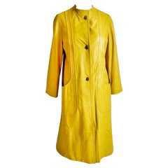 Bonnie Cashin for Sills Leather Coat Mod Lemon Yellow Vintage 60s Turnlocks Rare