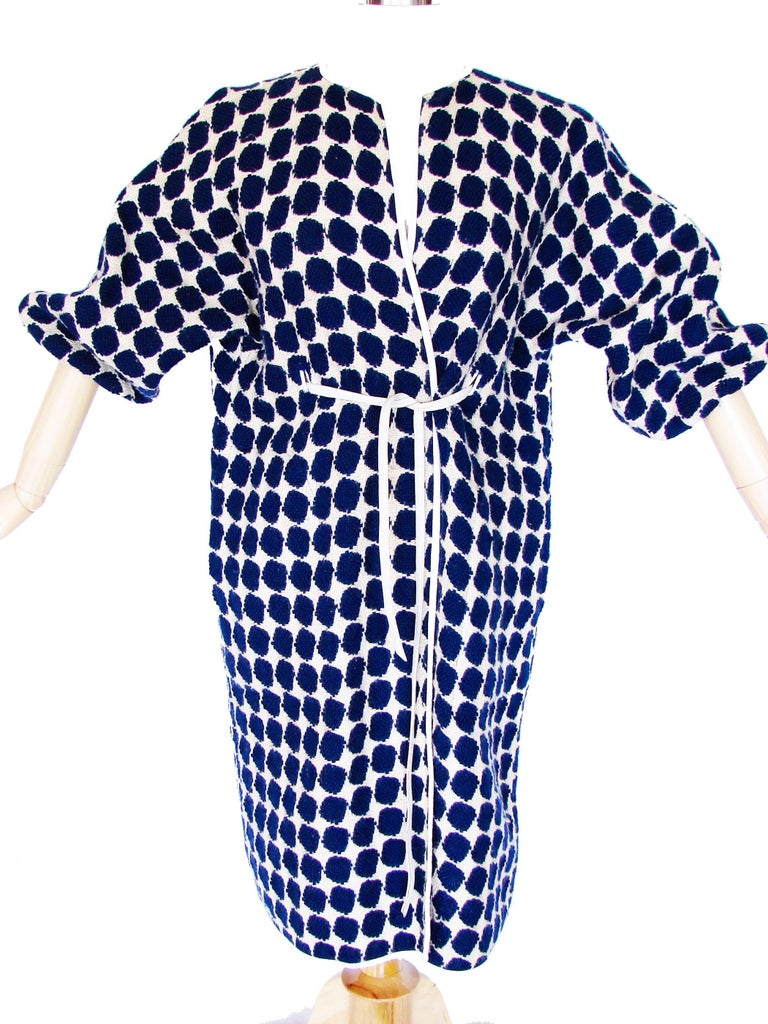 Bonnie Cashin for Sills Op Art Blue White Wool Leather Trim NOH Coat, 1960s  In Good Condition For Sale In Port Saint Lucie, FL