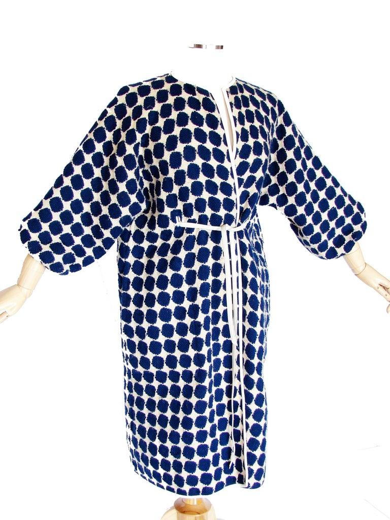Women's or Men's Bonnie Cashin for Sills Op Art Blue White Wool Leather Trim NOH Coat, 1960s  For Sale