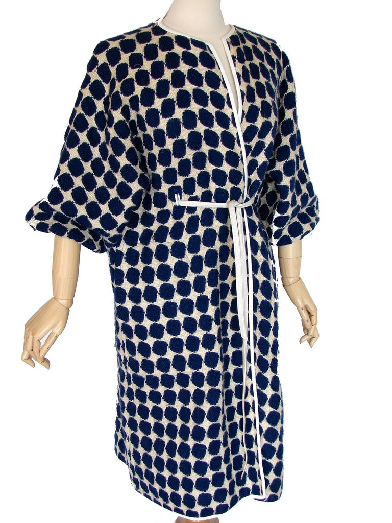 Bonnie Cashin for Sills Op Art Blue White Wool Leather Trim NOH Coat, 1960s  For Sale 1