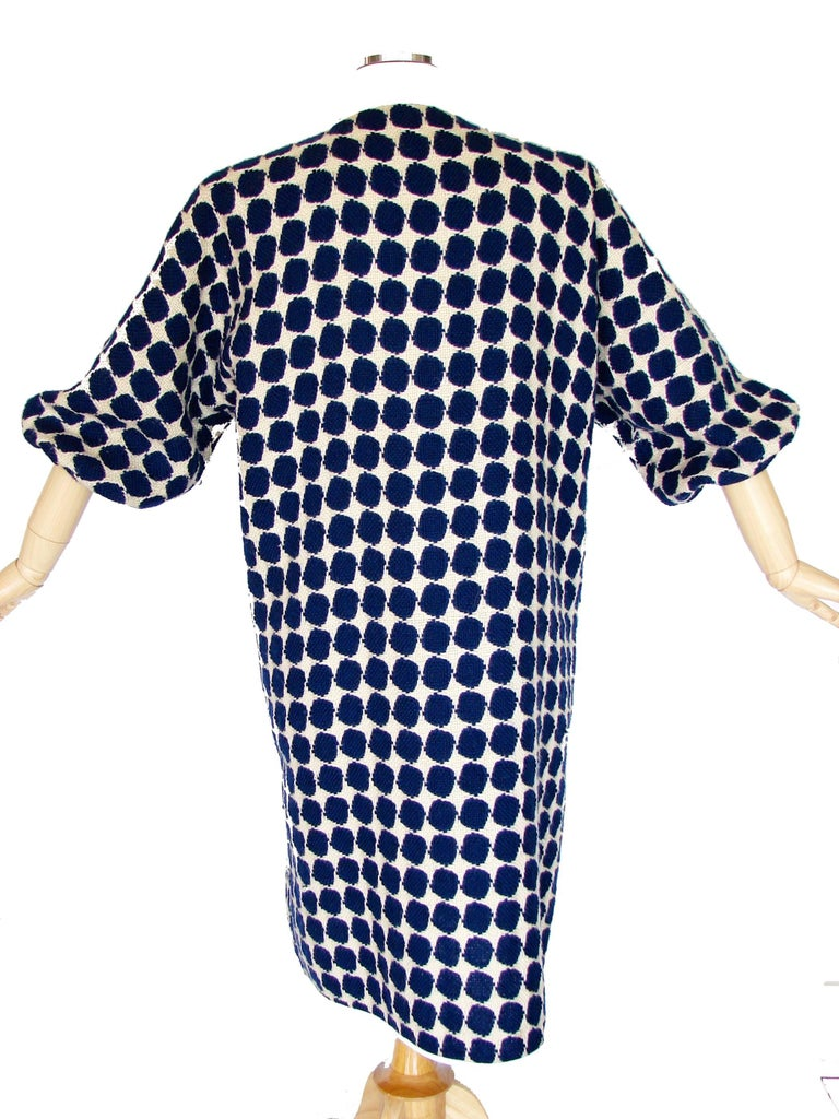 Bonnie Cashin for Sills Op Art Blue White Wool Leather Trim NOH Coat, 1960s  For Sale 2