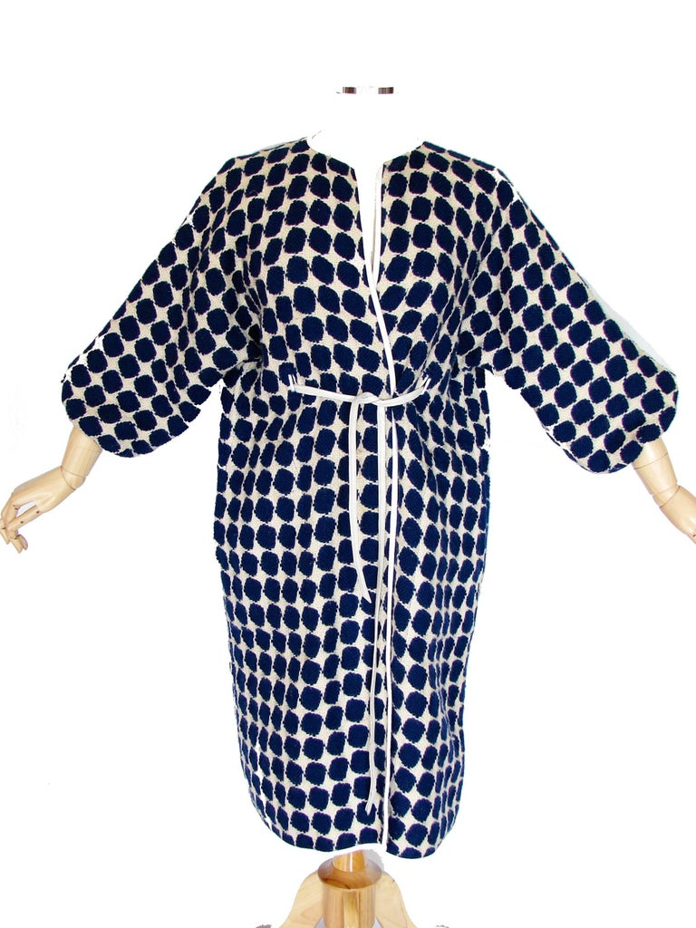 Bonnie Cashin for Sills Op Art Blue White Wool Leather Trim NOH Coat, 1960s  For Sale 3