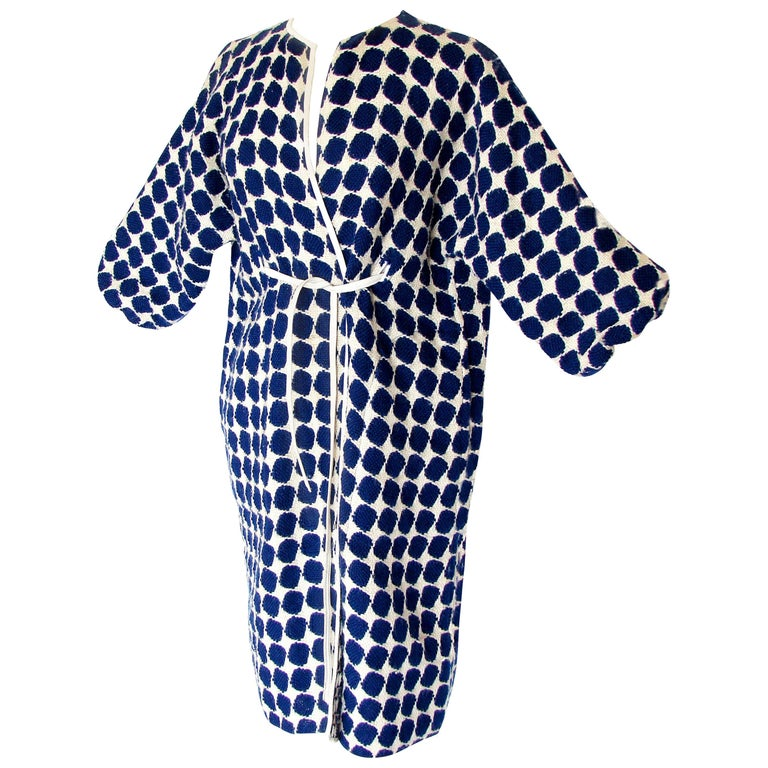 Bonnie Cashin for Sills Op Art Blue White Wool Leather Trim NOH Coat, 1960s  For Sale