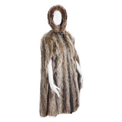 Bonnie Cashin HBA Furs H Raccoon Fur Cape with Hood 70s OSFM
