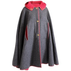 Bonnie Cashin Hooded Cape Charcoal Wool Red Leather Trim Rare Vintage OSFM