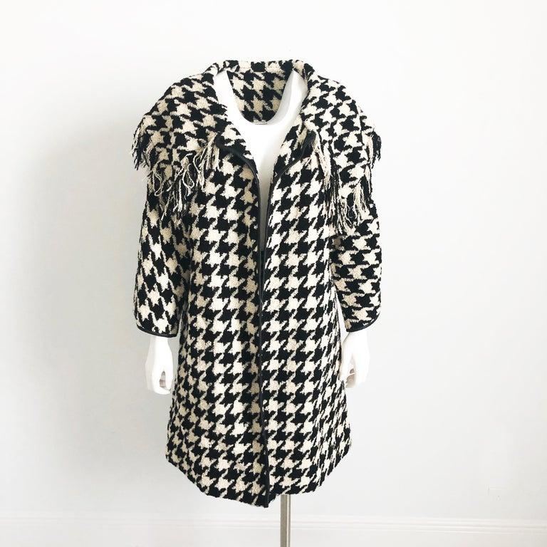 Black Bonnie Cashin Houndstooth Fringe Coat + Skirt 2pc Ensemble 1960s M For Sale