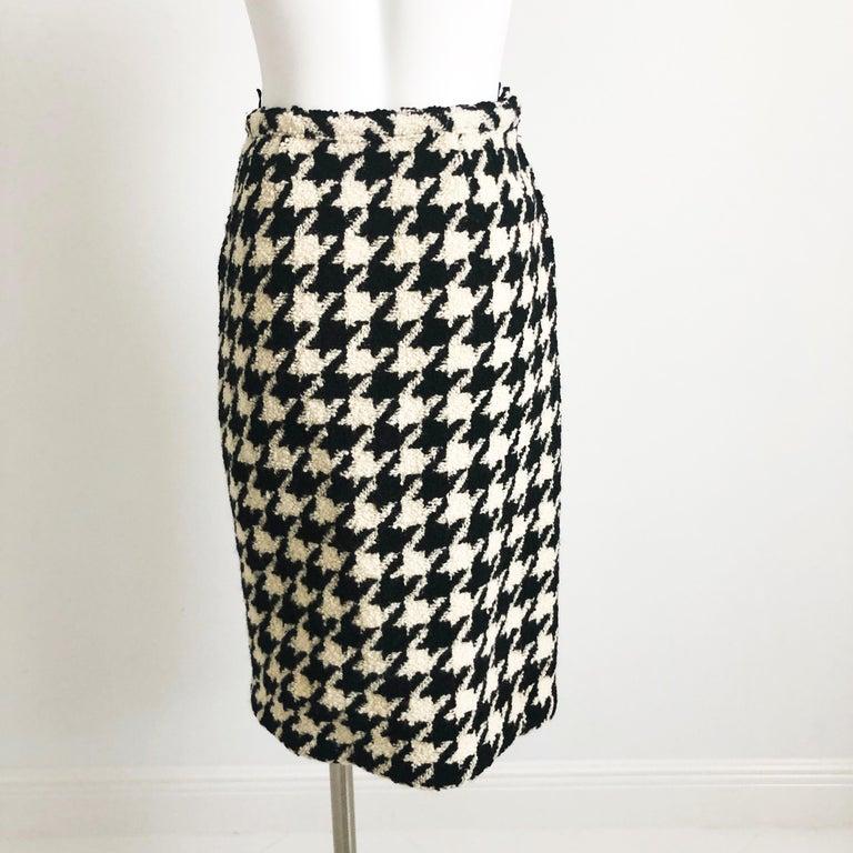 Women's Bonnie Cashin Houndstooth Fringe Coat + Skirt 2pc Ensemble 1960s M For Sale