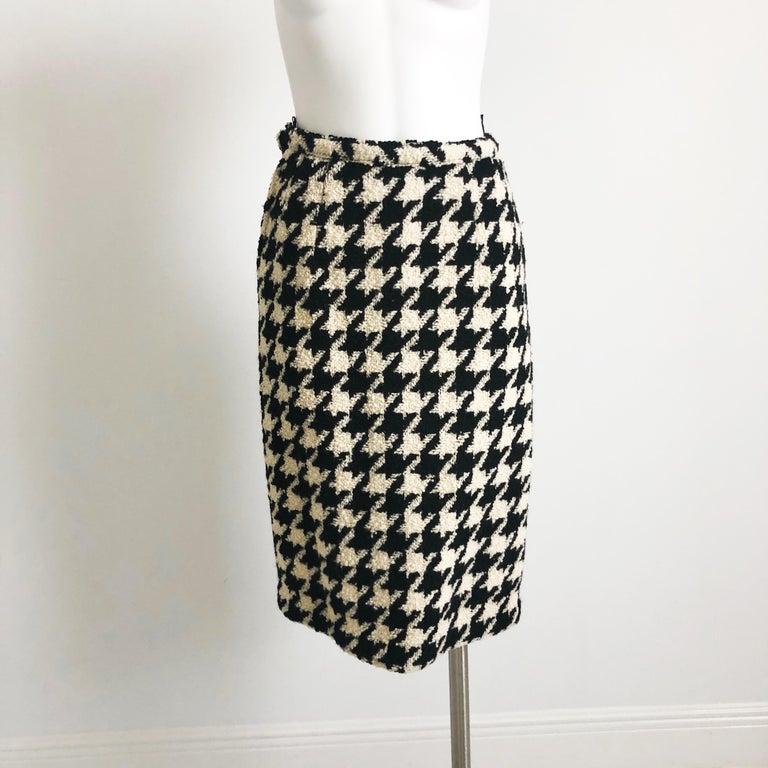 Bonnie Cashin Houndstooth Fringe Coat + Skirt 2pc Ensemble 1960s M For Sale 1