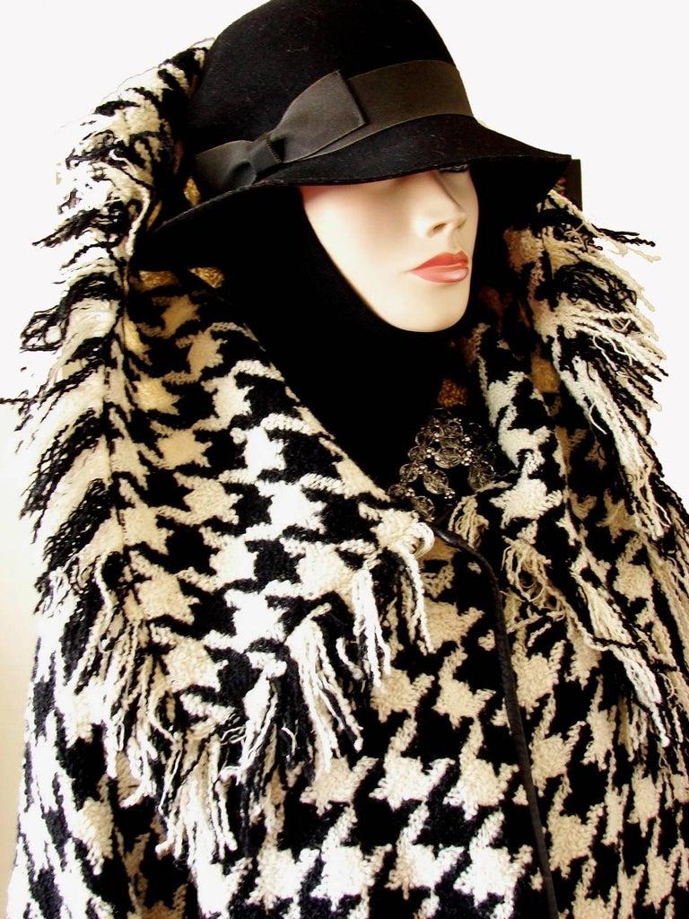 Bonnie Cashin Houndstooth Fringe Coat + Skirt 2pc Ensemble 1960s M For Sale 3