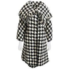 Bonnie Cashin Houndstooth Fringe Coat + Skirt 2pc Ensemble 1960s M