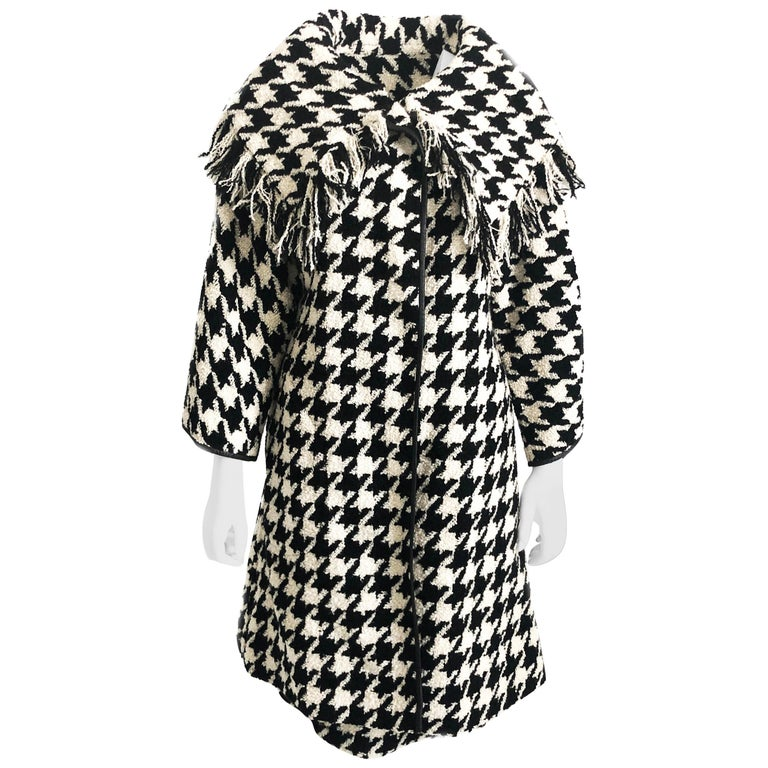 Bonnie Cashin Houndstooth Fringe Coat + Skirt 2pc Ensemble 1960s M For Sale