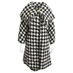Bonnie Cashin Houndstooth Fringe Coat + Skirt 2pc Ensemble 1960s M