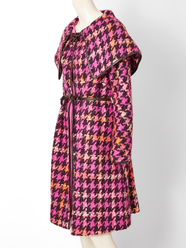 Bonnie Cashin for Sills, multi tone, wool, houndstooth pattern coat, having an exaggerated
