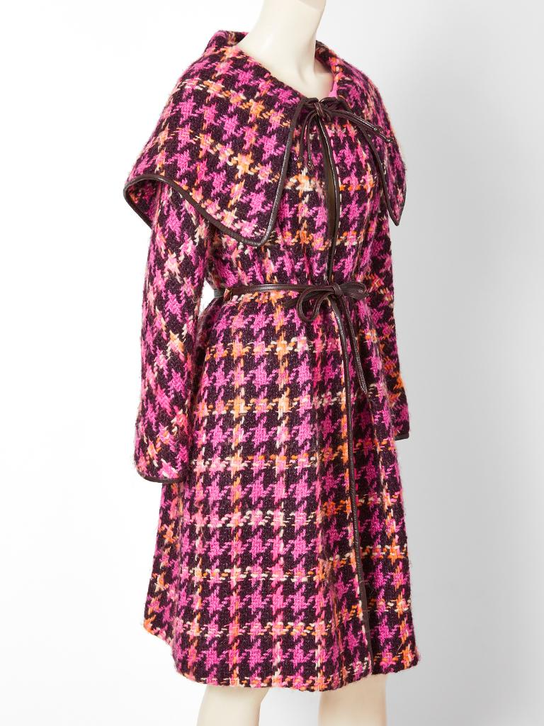 Brown Bonnie Cashin Houndstooth Pattern Wool Coat For Sale