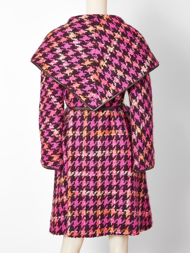 Women's Bonnie Cashin Houndstooth Pattern Wool Coat For Sale