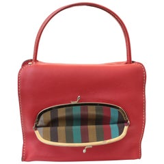 Bonnie Cashin Red Leather Tote Bag with Kiss Lock Purse NYC 1960s Rare