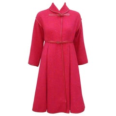 Bonnie Cashin Red & Purple Tweed Coat With Leather Trim, 1960's