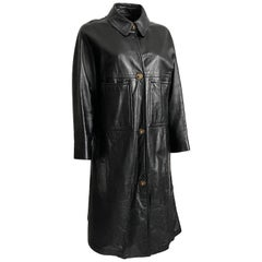 Bonnie Cashin Sills Black Leather Coat with Turnlock Fasteners