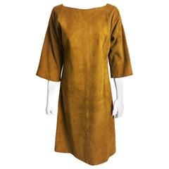 Bonnie Cashin Sills Dress Gold Suede Leather Kimono Style Sleeves Rare 1960s