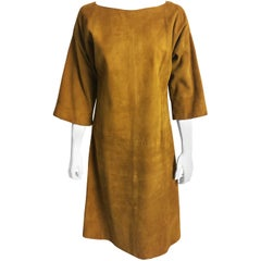 Bonnie Cashin Sills Gold Suede Leather Dress 1960s