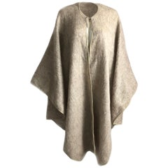 Bonnie Cashin Sills Mohair Cape with Leather Trim Vintage 70s OSFM