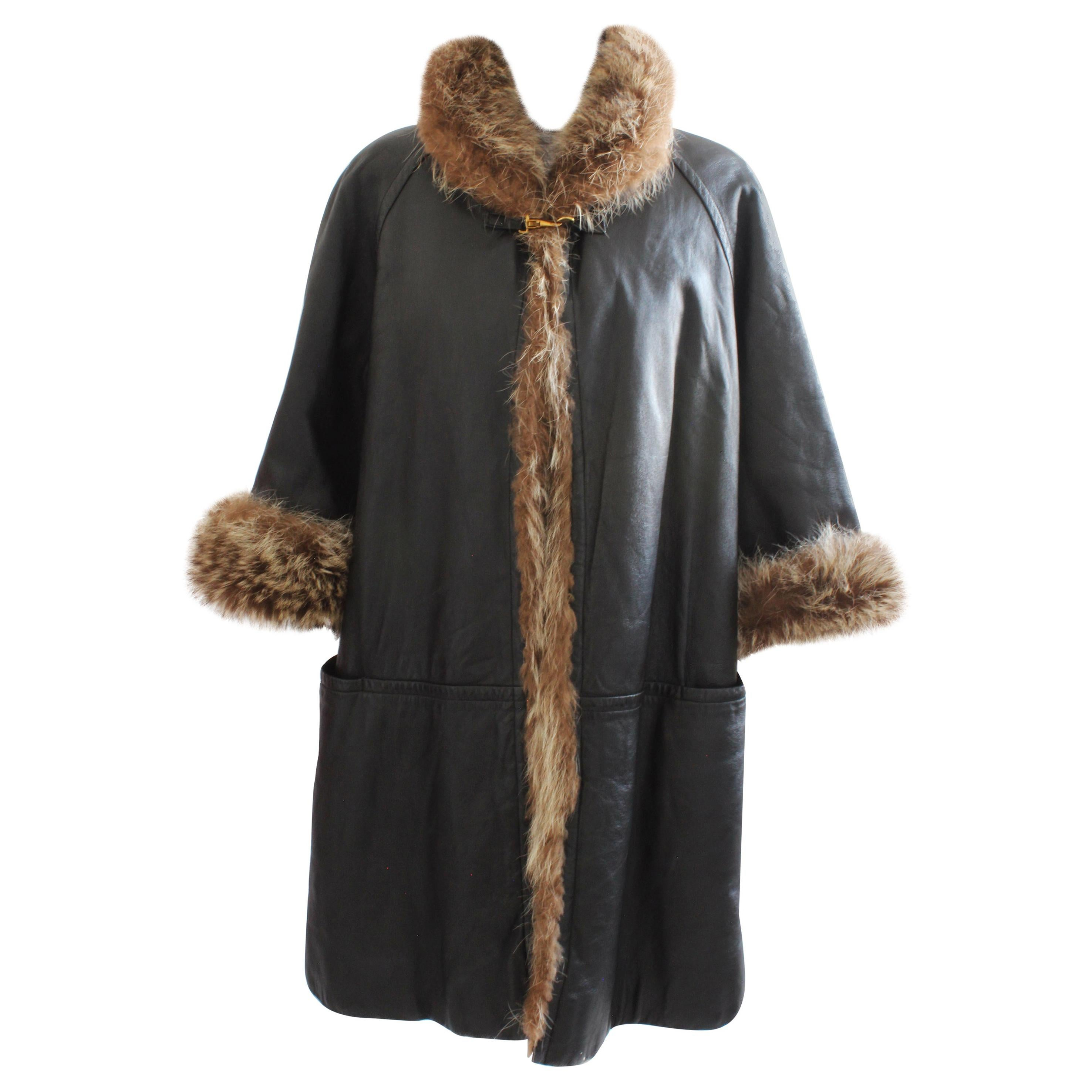 Bonnie Cashin Sills Reversible Black Leather and Raccoon Fur Coat 1960s
